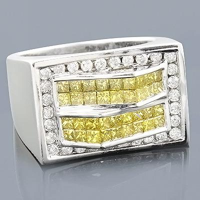 14K Mens White Yellow Diamond Ring 2.05ct
