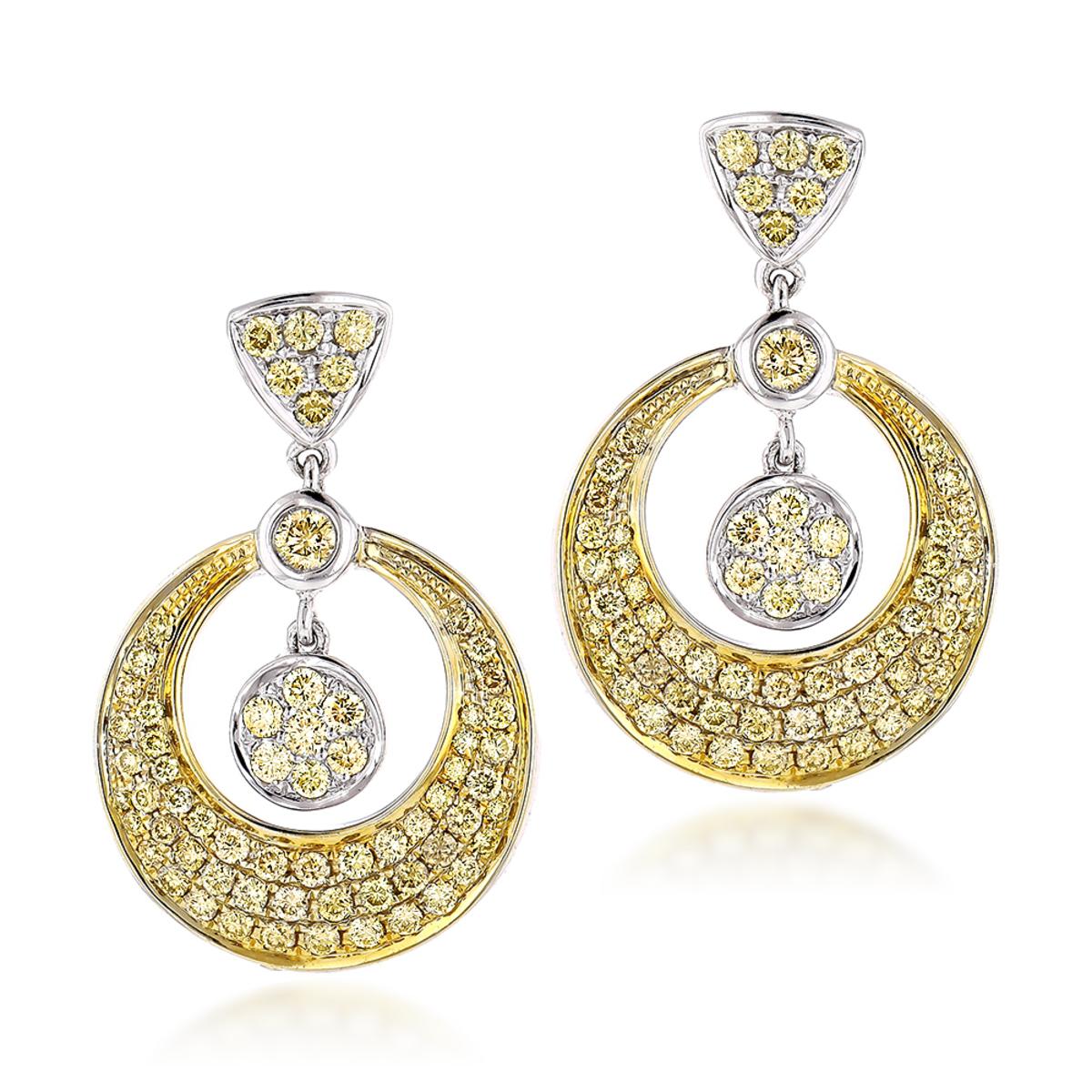 14K Natural Yellow Diamond Drop Earrings 1.33ct