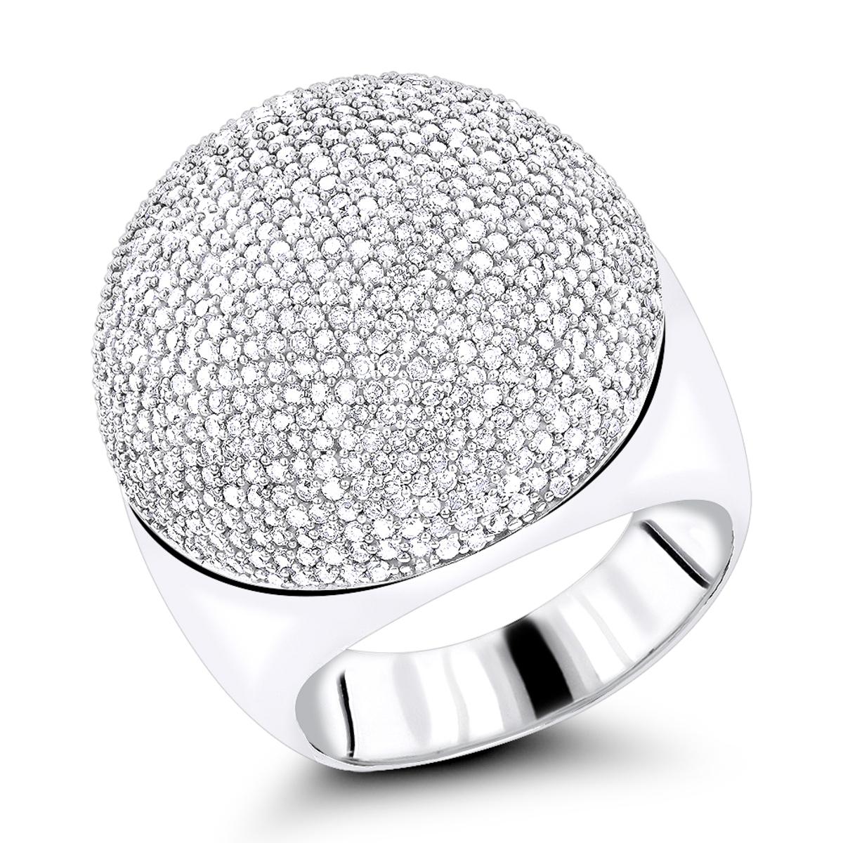 14K Pave Diamond Dome Ring 2.2ct