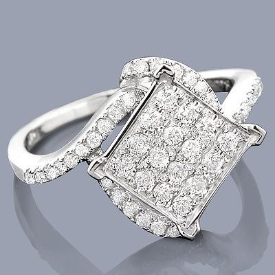 14K Pave Diamond Engagement Ring 0.63ct