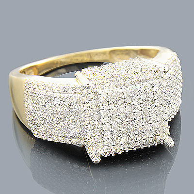 14K Pave Diamond Engagement Ring 1.24ct