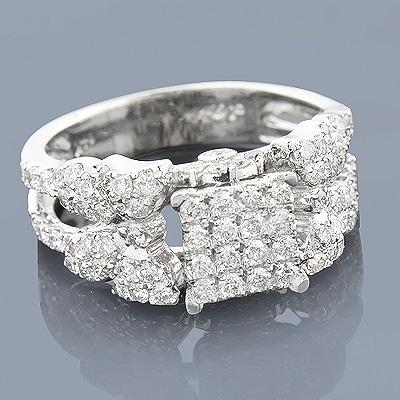 14K Pave Diamond Engagement Ring 1.30ct