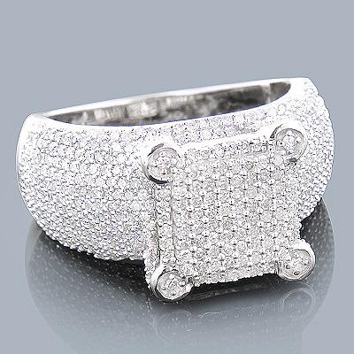 14K Pave Diamond Engagement Ring 1.32ct