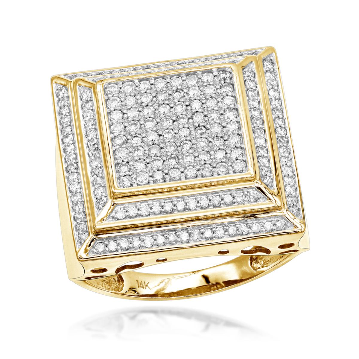 14K Pave Mens Diamond Ring 2 ct