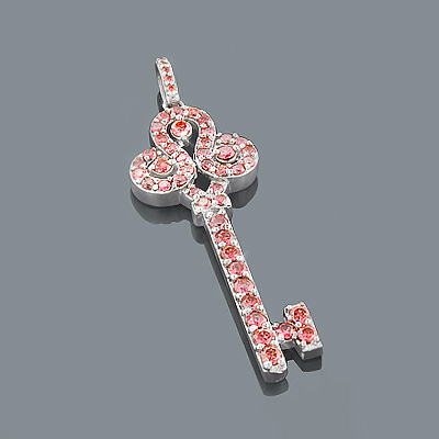 14K Pink Diamond Key Pendant 2ct