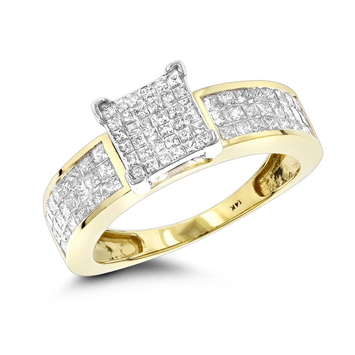 14K Pre-Set Princess Cut Diamond Engagement Ring 1.1