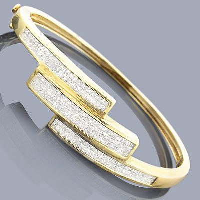14K Princess Cut Diamond Bangle Bracelet 2.25ct