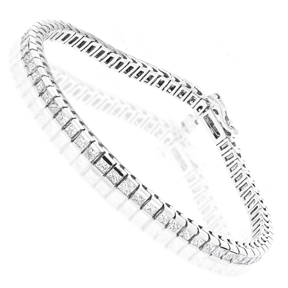 14K Gold Princess Cut Diamond Tennis Bracelet 4.83ct