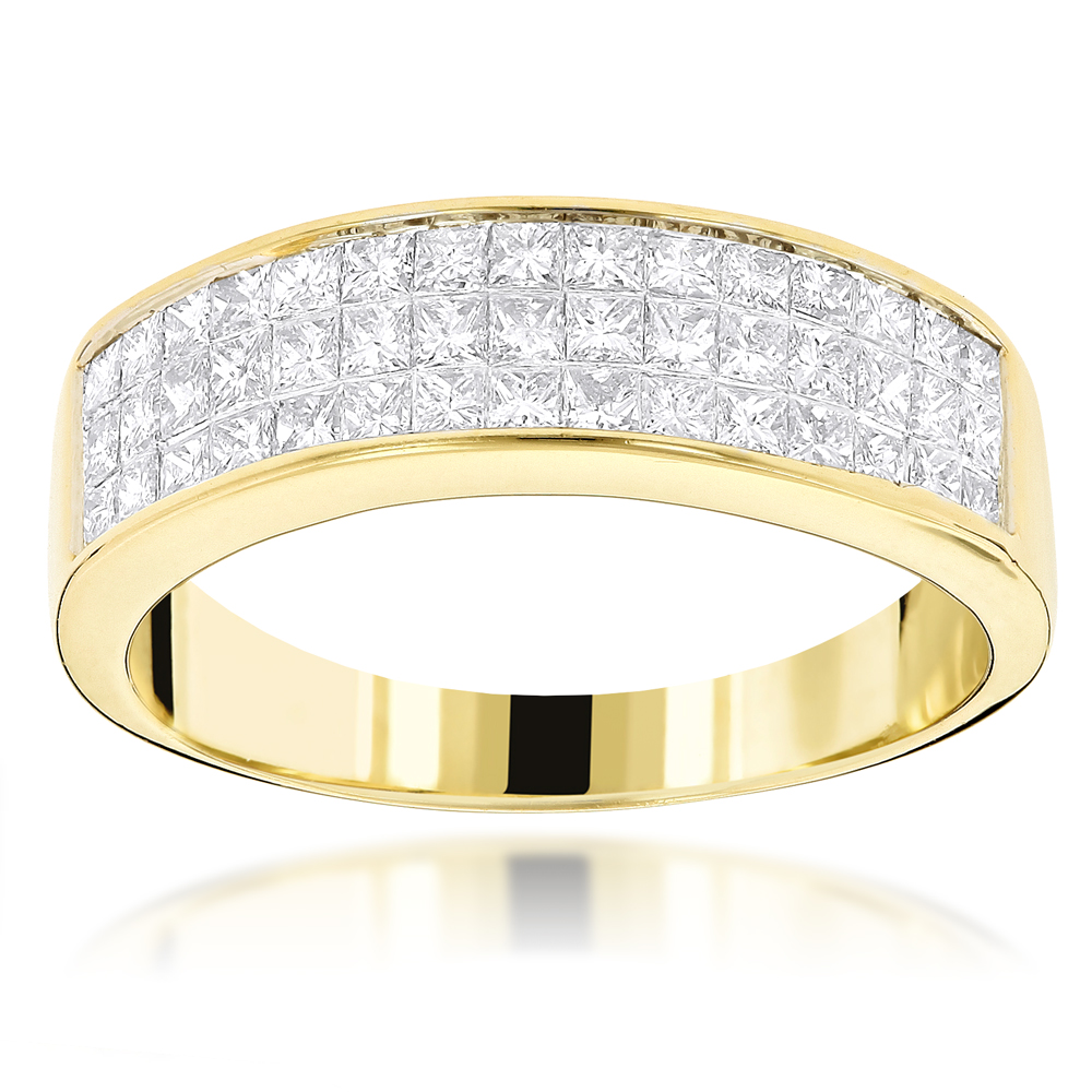 14K Gold Princess Cut Diamond Wedding Band Invisible Set Ring 1.25ct