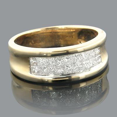 14K Princess Cut Invisible Diamond Wedding Band 1.16ct