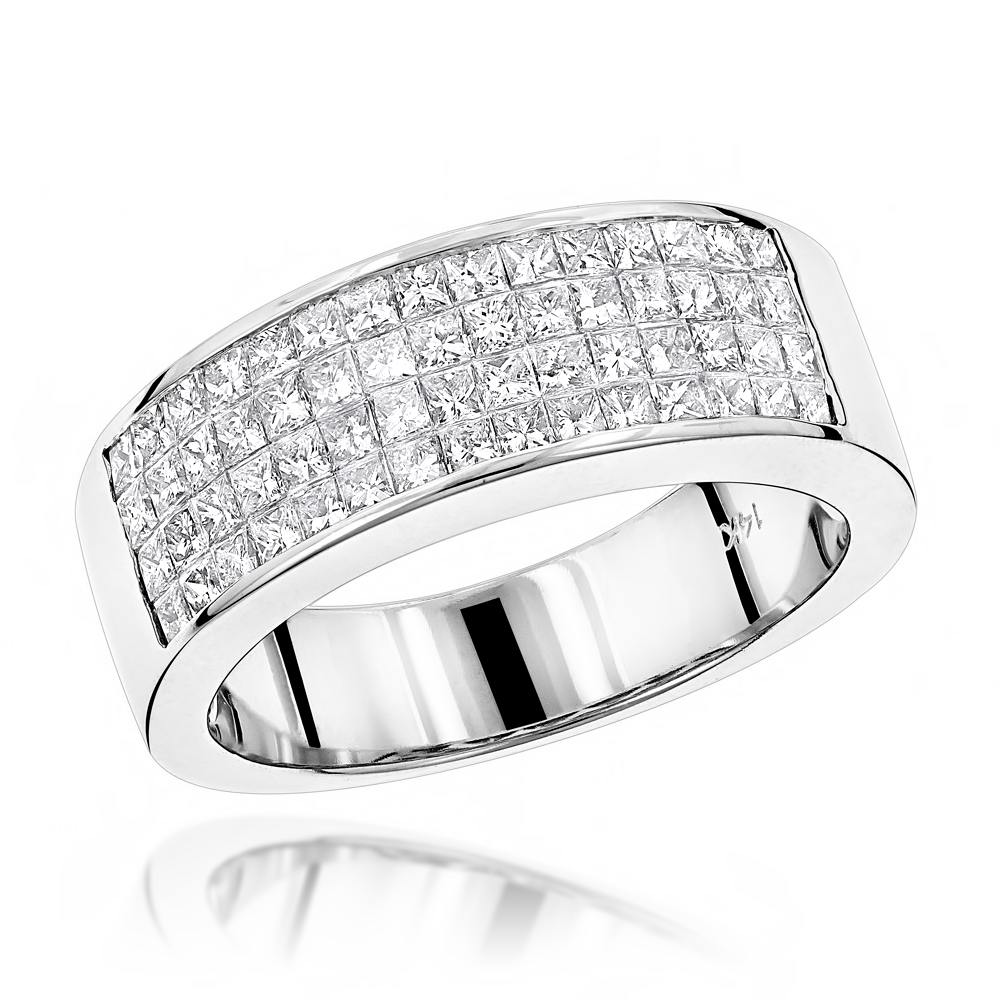 14K Gold Princess Cut Invisible Diamond Wedding Band 1.84ct