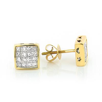 14K Princess Invisible Set Diamond Earrings 1 carat