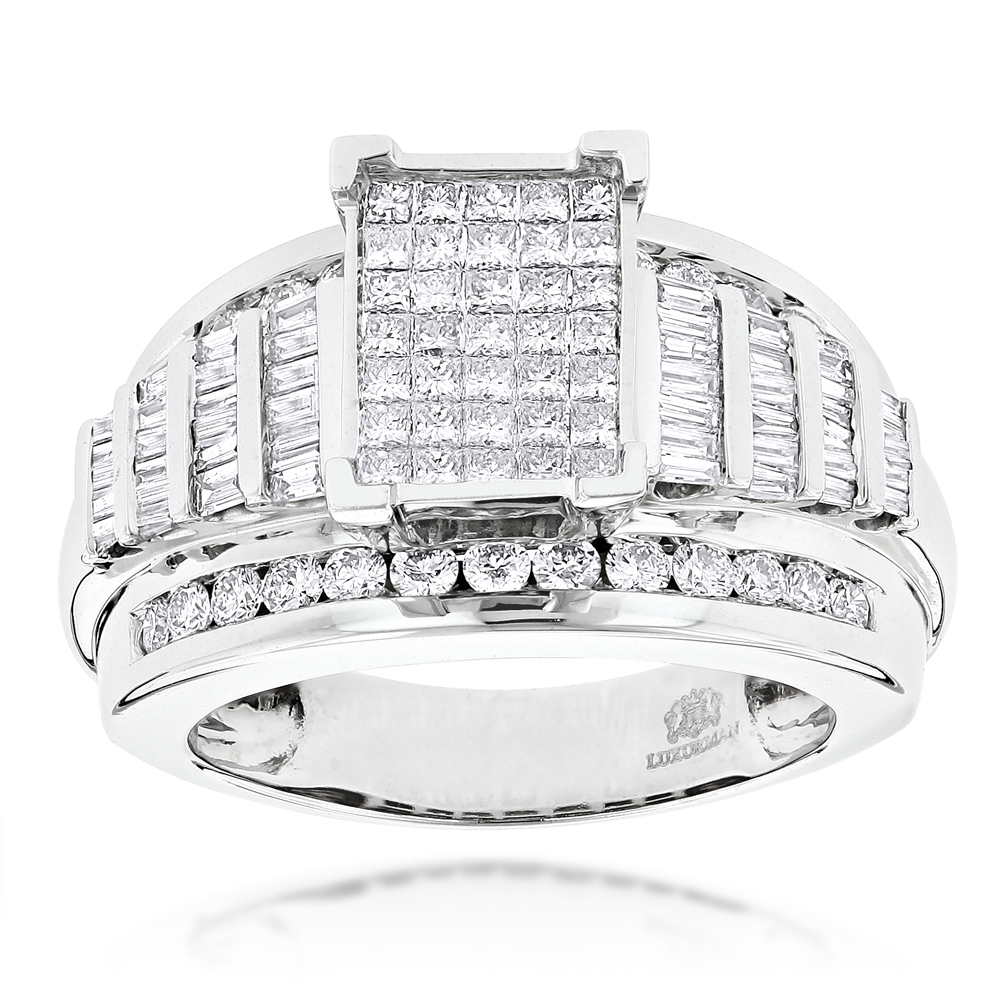 14K Princess Round Baguette Diamond Engagement Ring 1.75ct