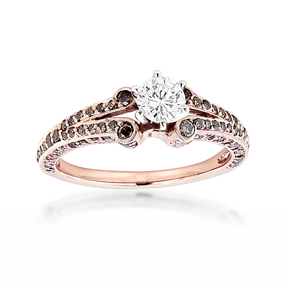 14K Rose Gold Unique Ladies White Brown Diamond Engagement Ring 1.2ct