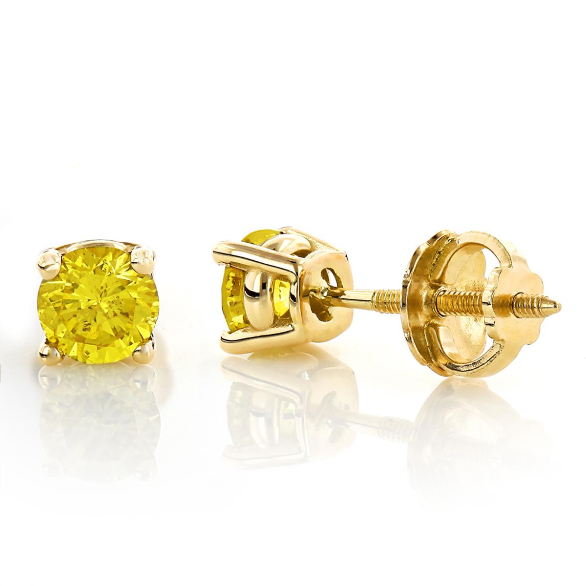 14K Round Canary Yellow Diamond Stud Earrings 1/2ct