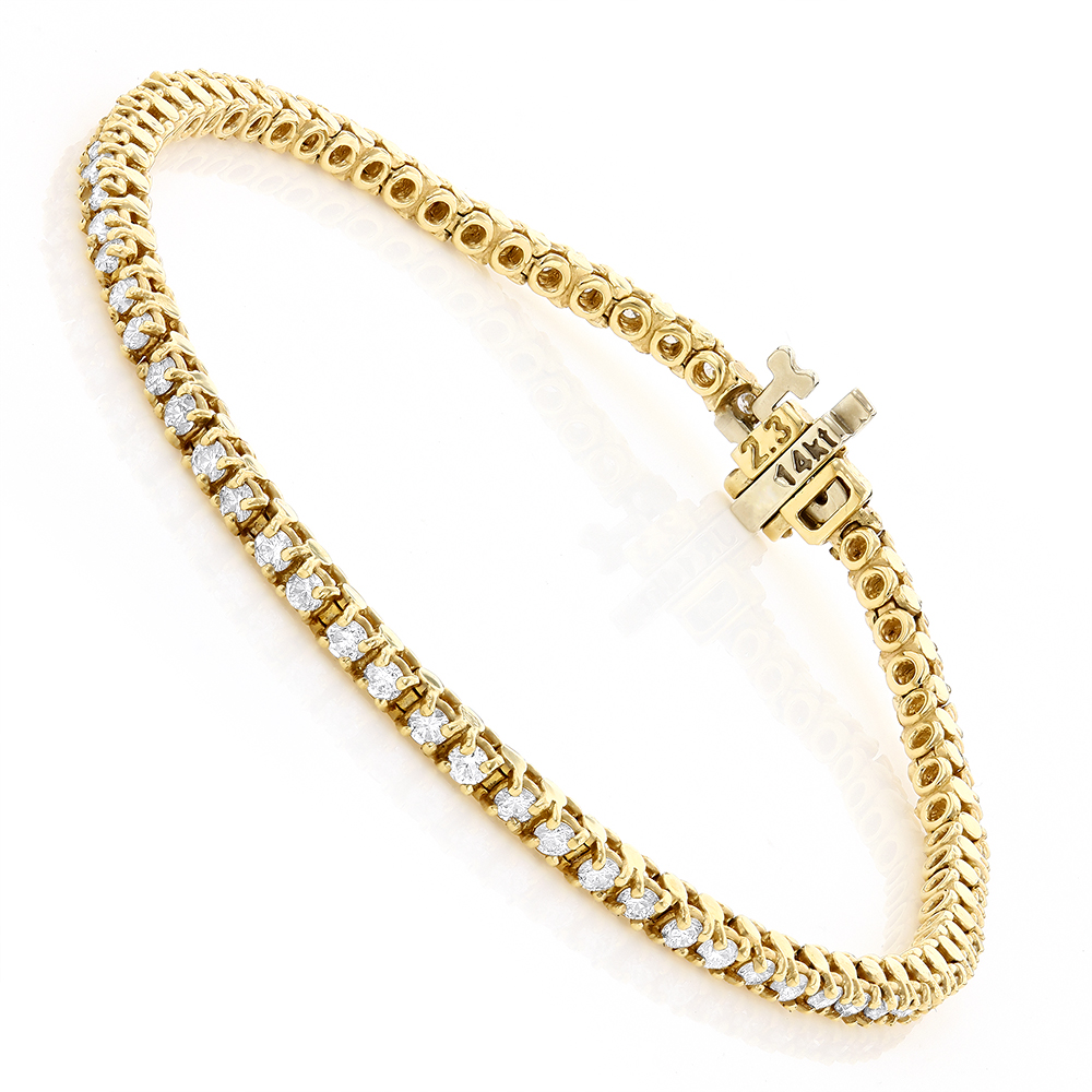 14K Gold Round Diamond Tennis Bracelet 2.2ct