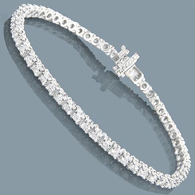 14K Round Diamond Tennis Bracelet 5ct