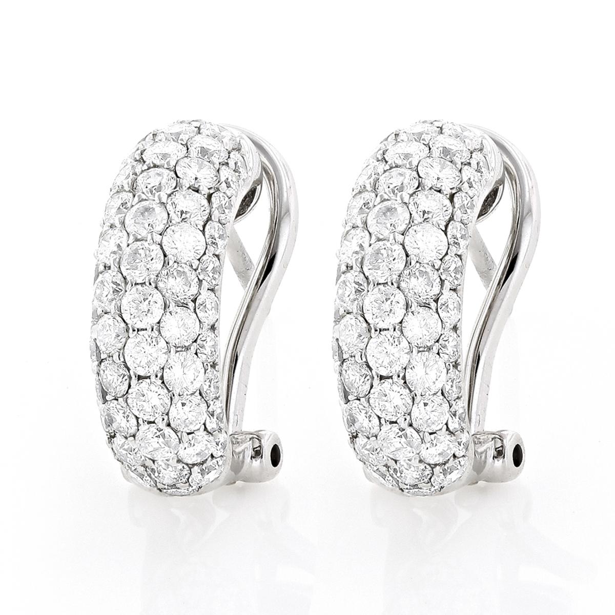 14K Gold Round Pave Diamond Hoop Earrings 1.87ct