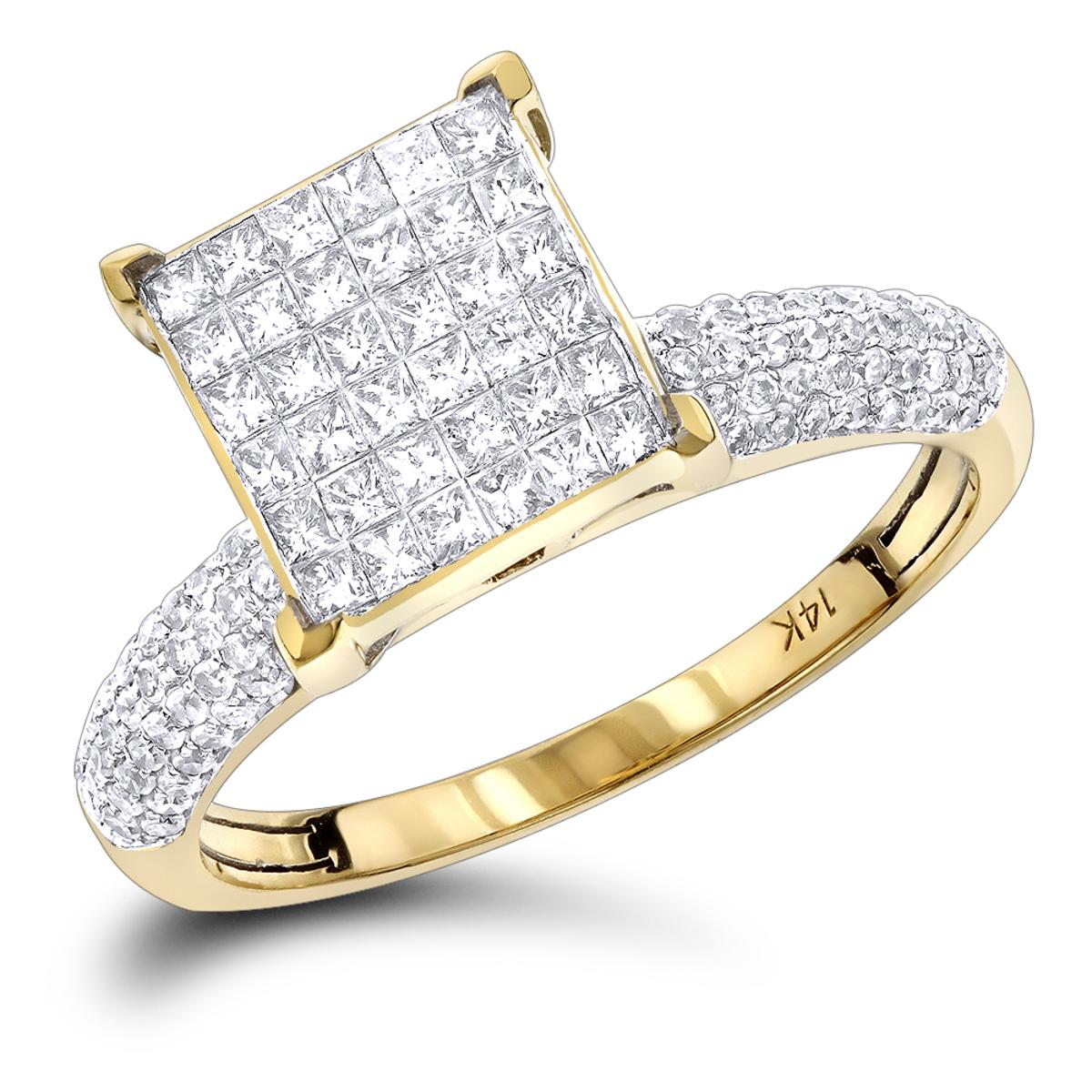 14K Round Princess Cut Diamond Engagement Ring 1.01ct