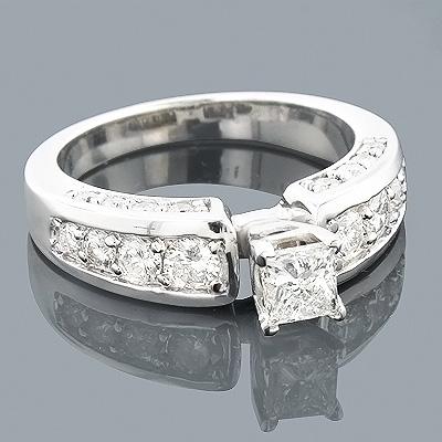 14K Gold Round Princess Cut Diamond Engagement Ring 1.66ct
