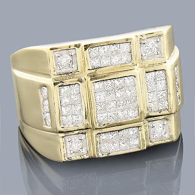14K Round Princess Cut Diamond Ring 1.36ct