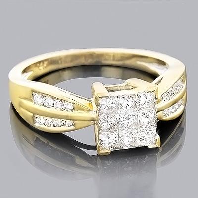 14K Round & Princess Diamond Engagement Ring 0.85ct
