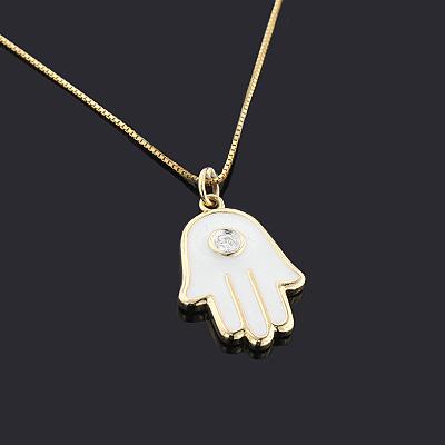 14K Small Hamsa Necklace with Diamonds 0.04ct White