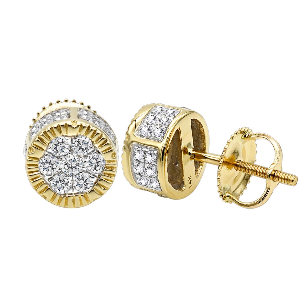 14K Solid Gold 2 Carat Look Diamond Stud Earrings 0.5ct Clusters Luxurman