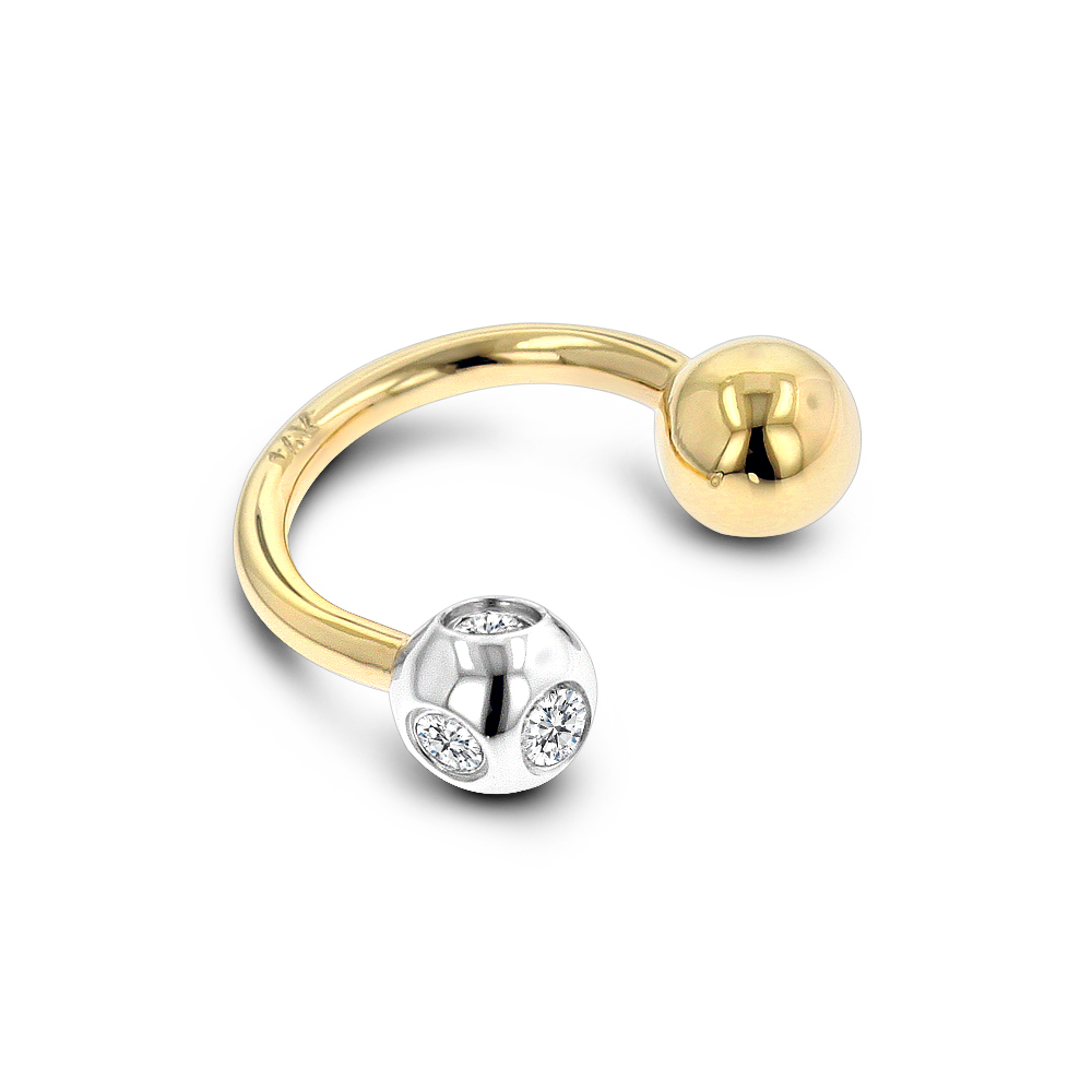 14K Solid Gold Real Diamond Body Jewelry Piece 0.15ct
