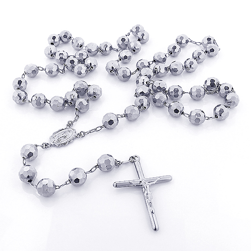 14K Solid White Gold Rosary Beads Necklace 7mm 30in