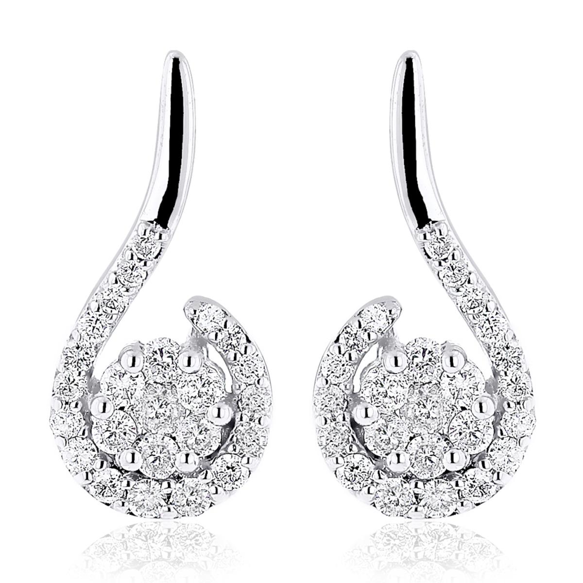 14K Gold Swirl Diamond Earrings for Women 0.75ct