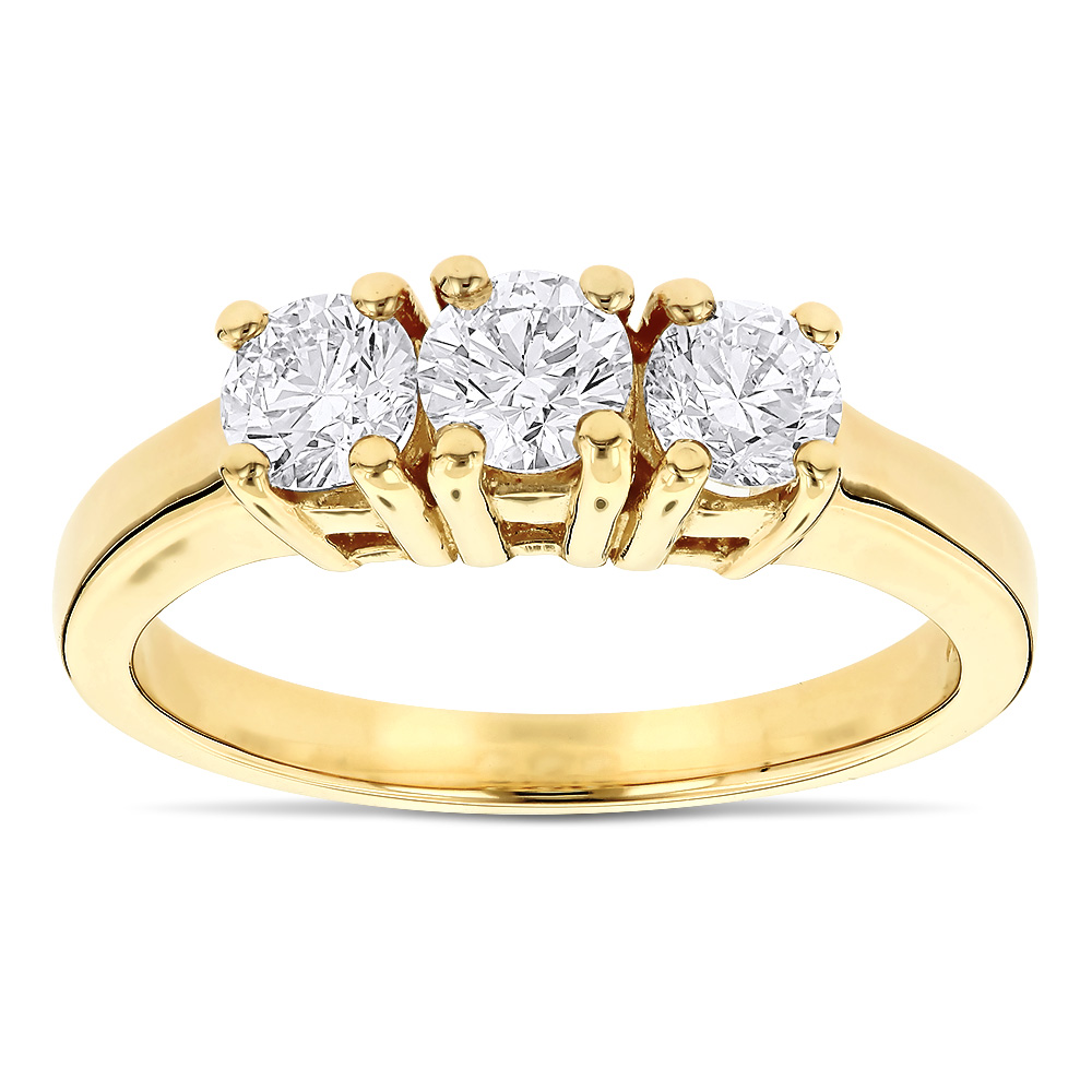 14K Gold Three Stone Diamond Ring Past Present Future 1 Carat
