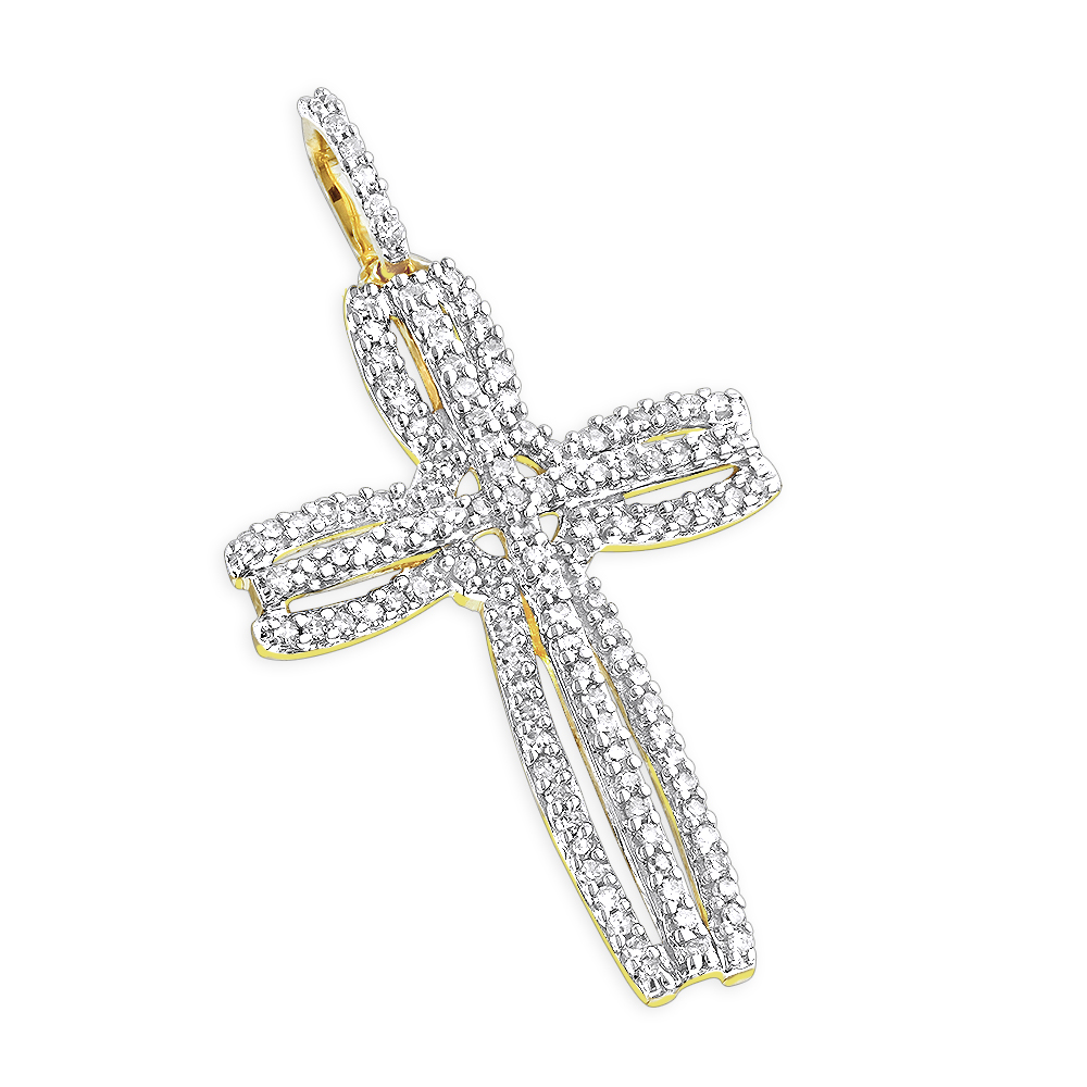 14K Unique Diamond Cross Pendant 0.25 ctw
