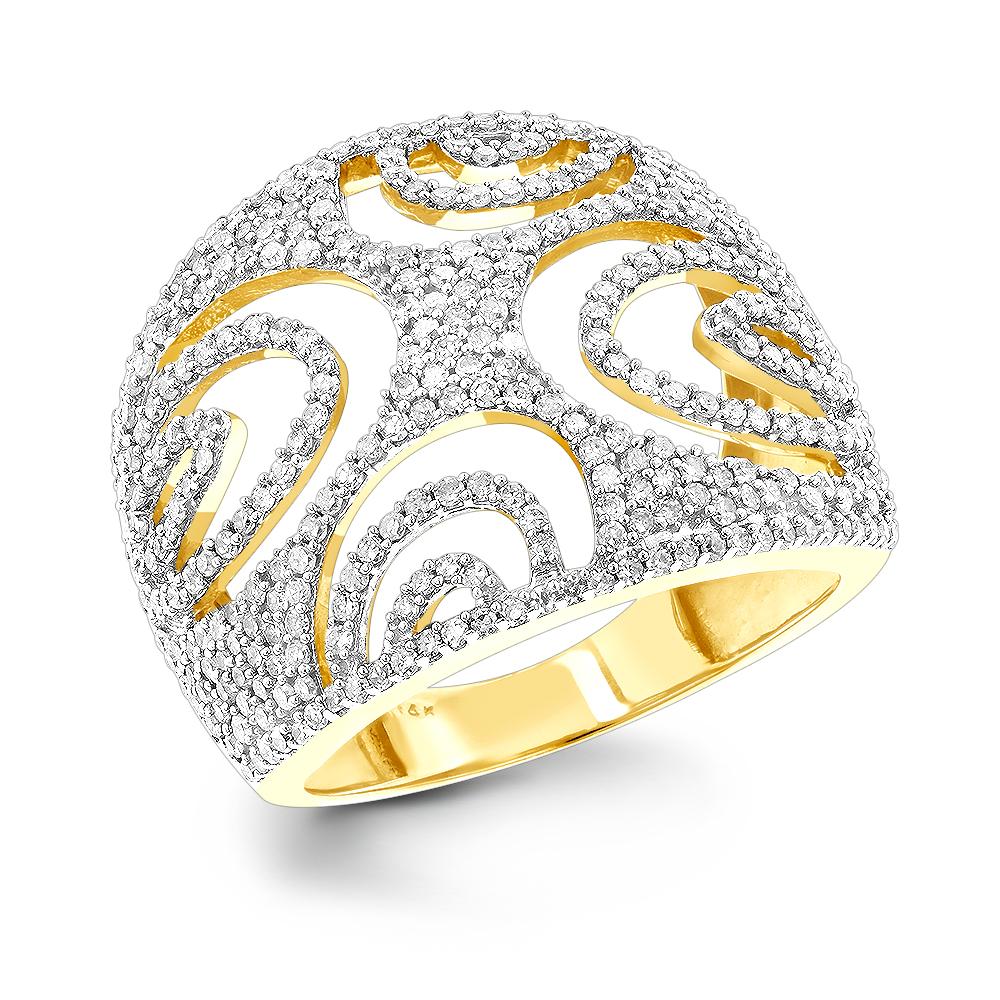 14K Unique Diamond Ring Cut-Out Motif 1.06ct
