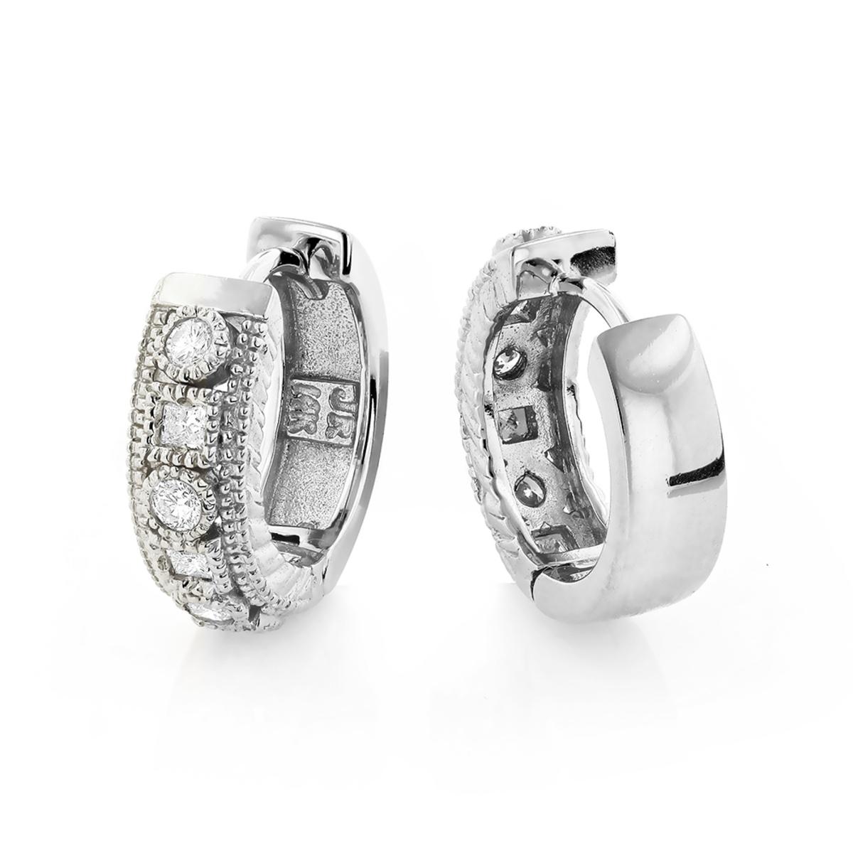 14K Unique Huggie Diamond Earrings 0.77ct
