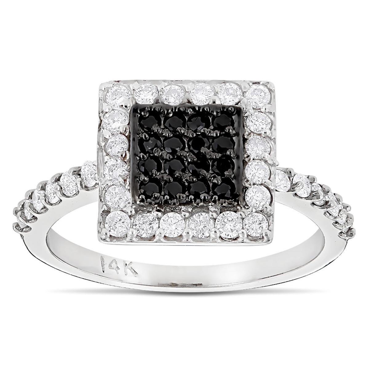14K Gold White and Black Diamond Ring For Women 0.62ct