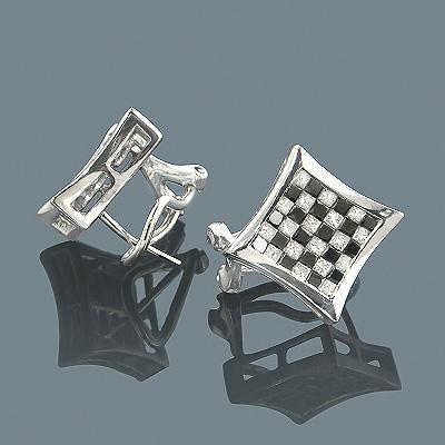 Square 14K Gold White Black Diamond Checkered Earrings 2.25ct
