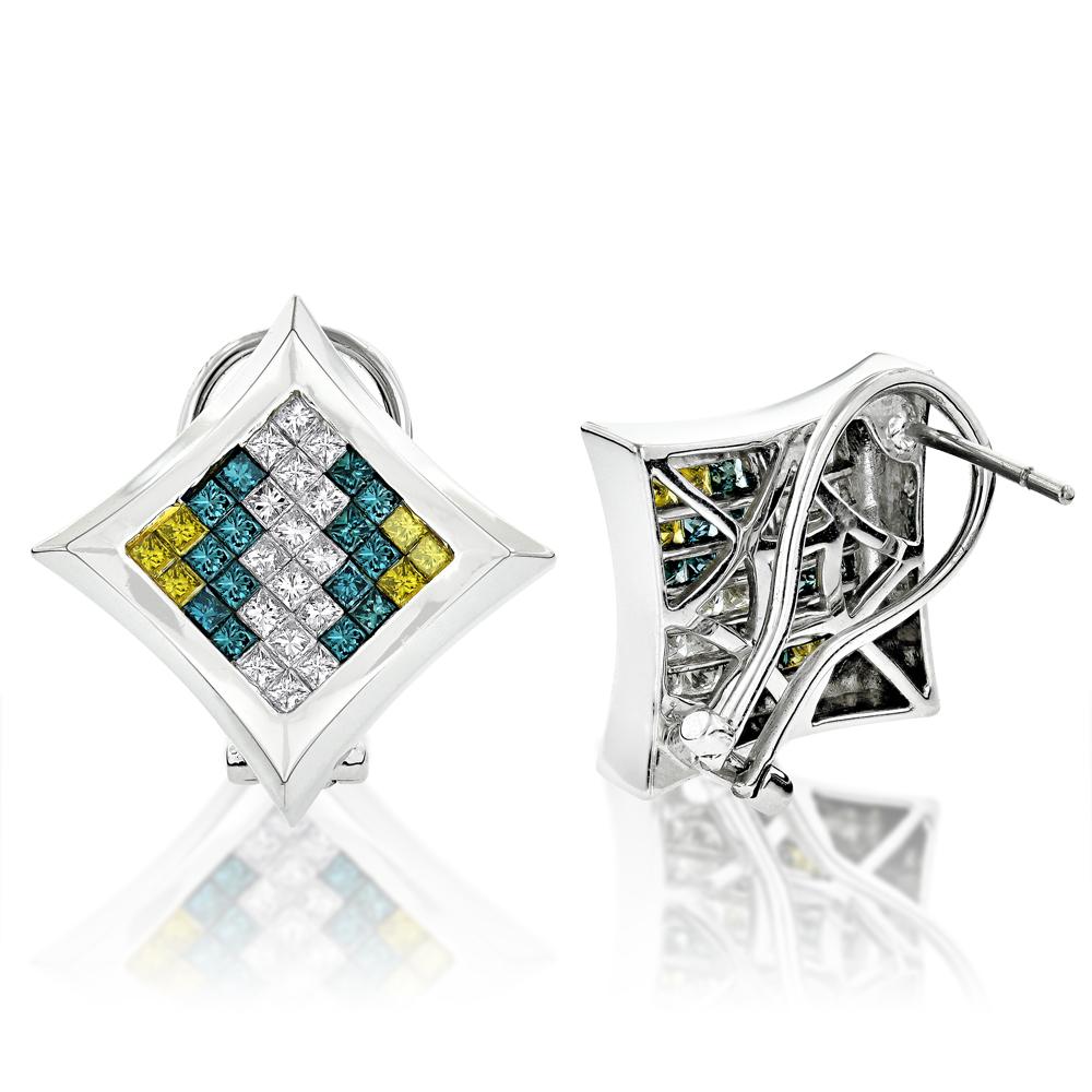 14K White Blue Yellow Princess Diamond Earrings 2.41