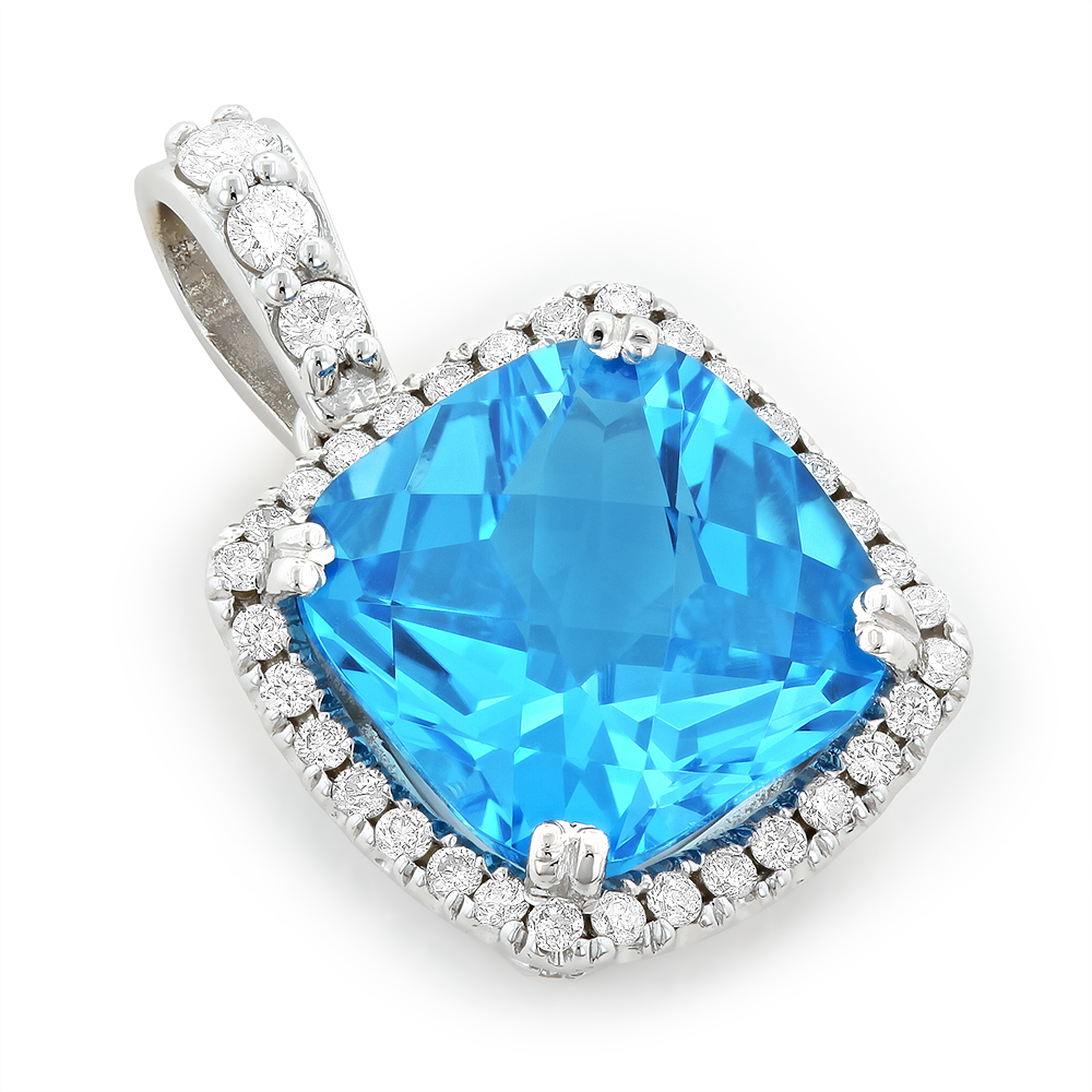 14K White Gold Brilliant Blue Topaz Gemstone Diamond Pendant 0.72ct