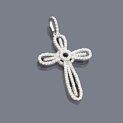 14K White Gold Diamond Cross Pendant for Women 0.38ct