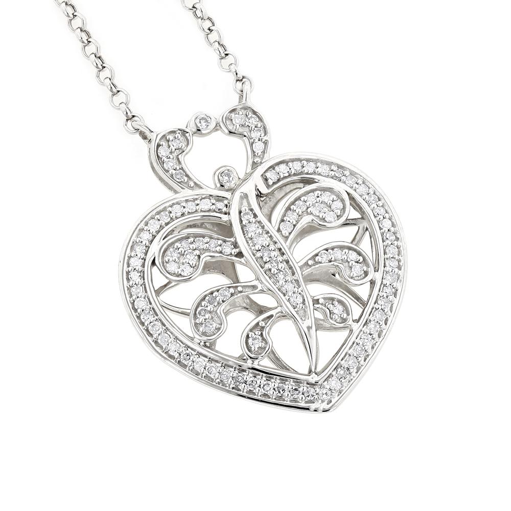 14K White Gold Diamond Heart Pendant Necklace 0.35ct