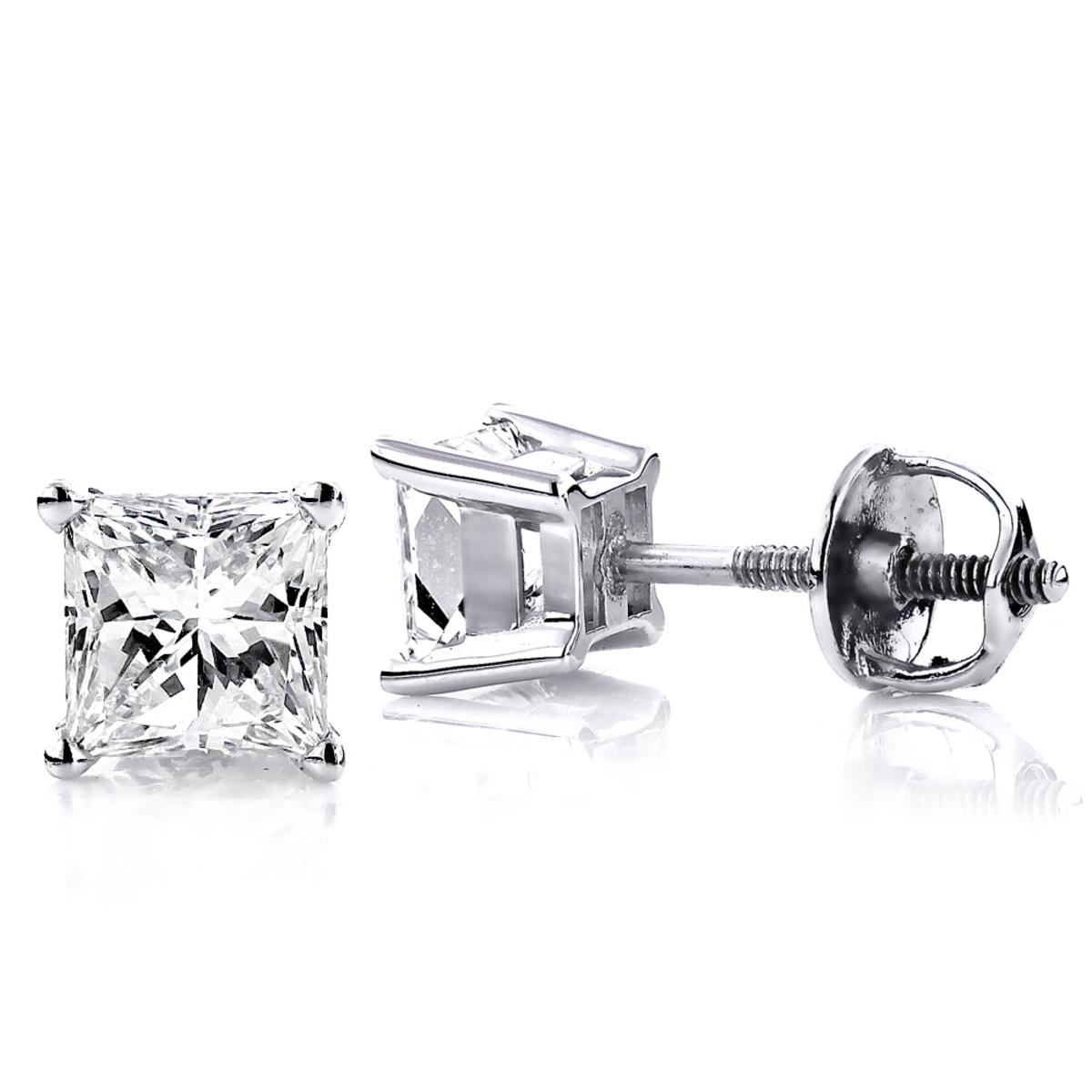 14K White Gold Princess-Cut Diamond Stud Earrings 1.5ct
