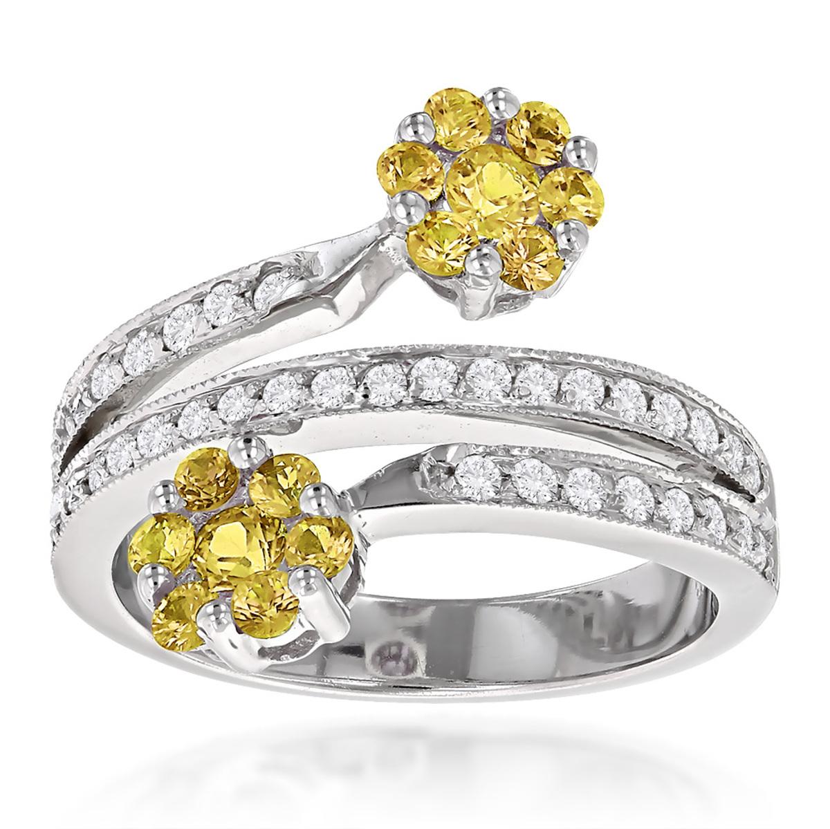 14K White Gold Right Hand Diamond Ladies Ring 1ct Yellow Topaz