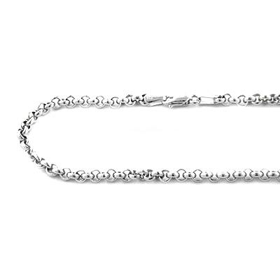 Mens 14K White Gold Rolo Chain Oval Design 4.5mm, 22in - 34in