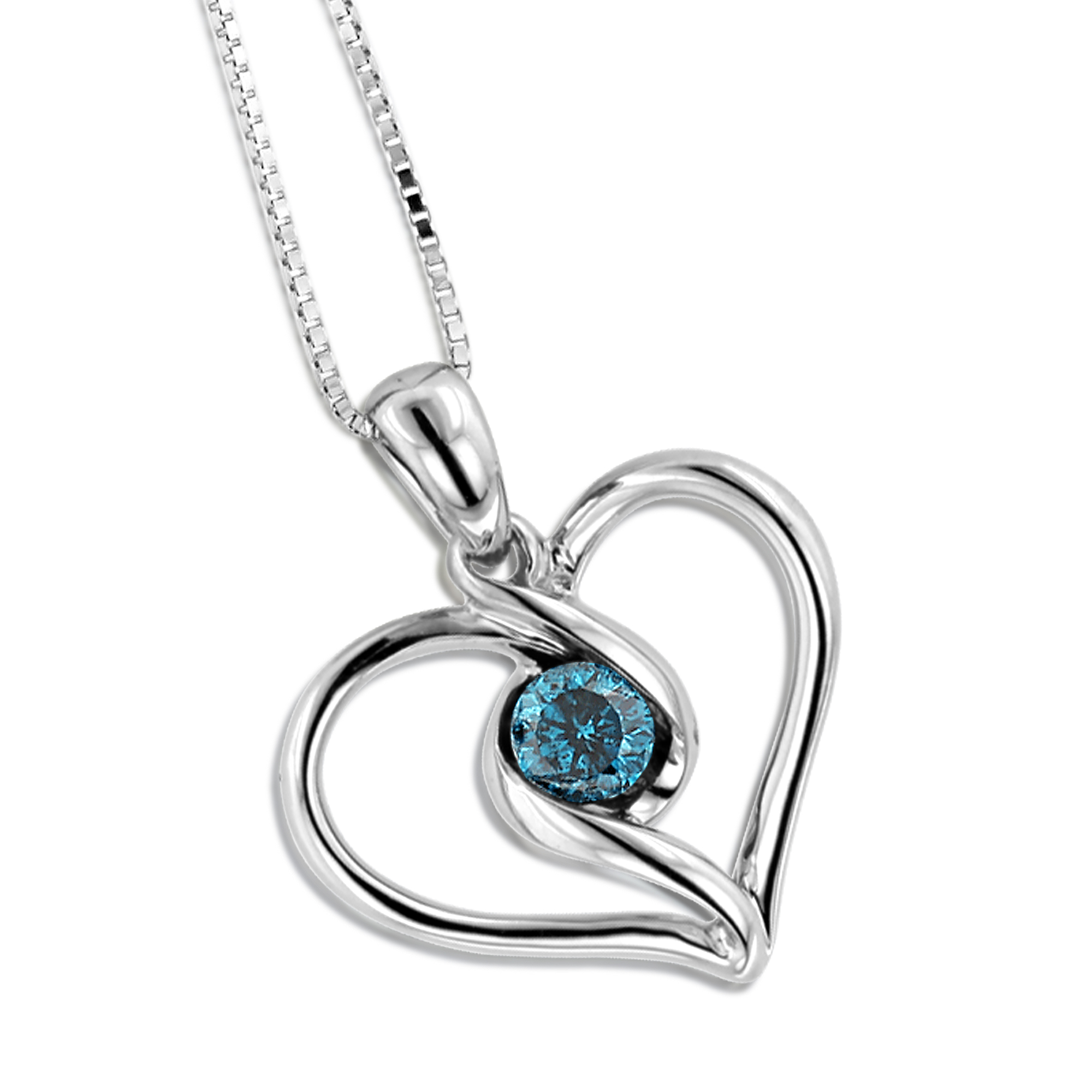 14k white gold single blue diamond heart necklace for women pendant aloadofball Image collections