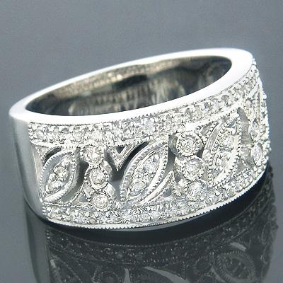 14K White Gold Vintage Style Diamond Ring Floral 0.89ct