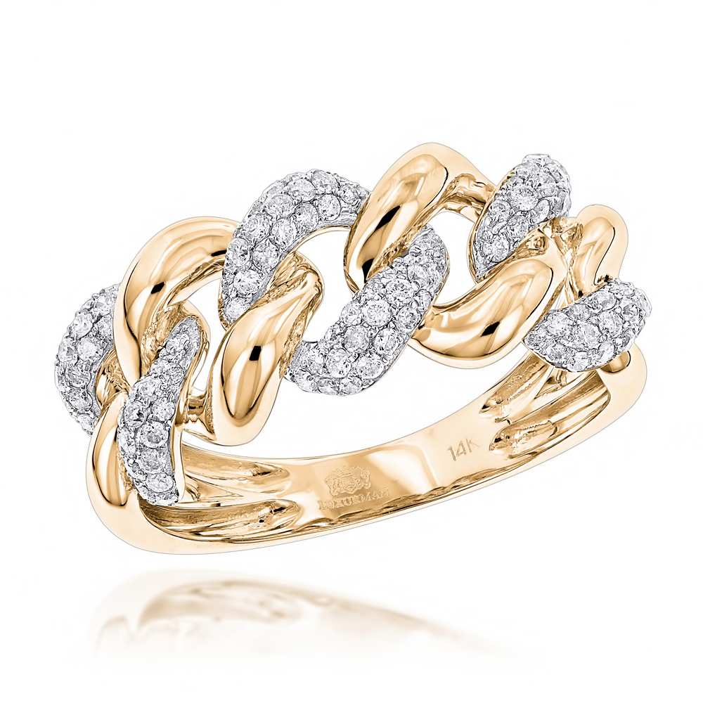 14K White Rose Yellow Gold Diamond Miami Cuban Link Ring Mens by Luxurman