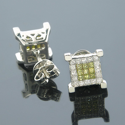 14K White Yellow Diamond Earrings Princess Cut 0.75ct