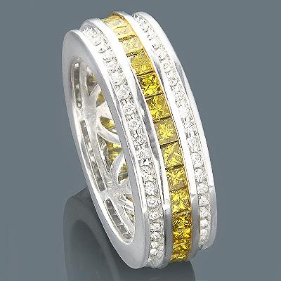 14K White Yellow Diamond Eternity Ring 2.64ct