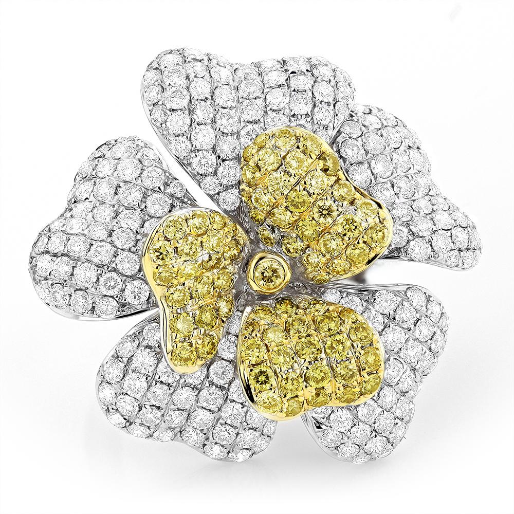 14K White Yellow Diamond Flower Ring 5.73ct